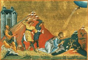 Icône du martyre d'Étienne, avec Saul – Xe siècle