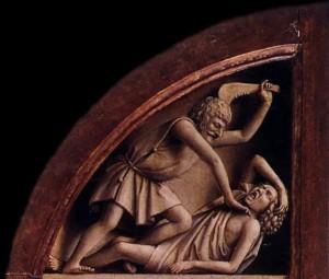Caïn tuant Abel Triptyque de l'Agneau mystique Van Eyck
