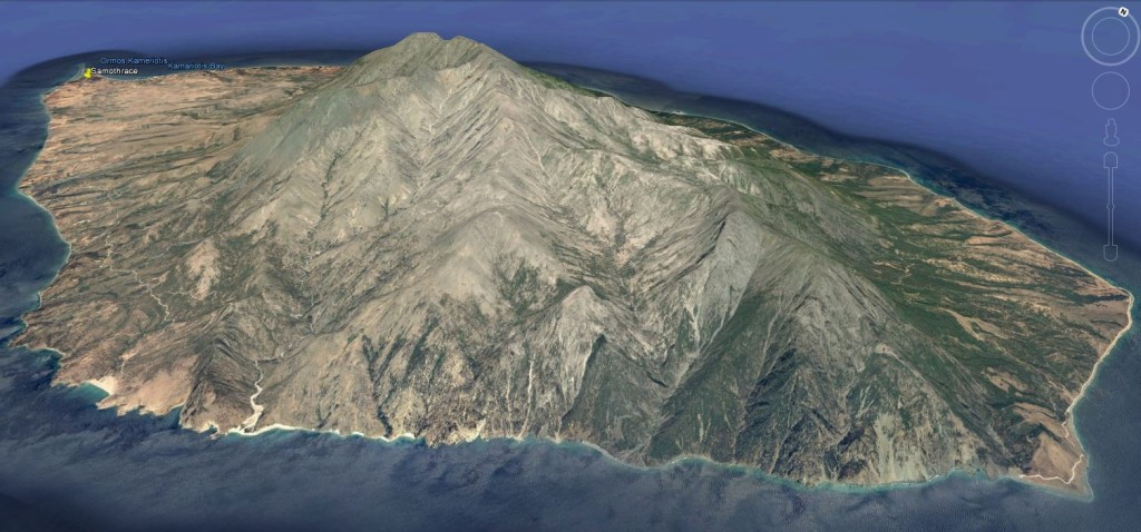 L'île de Samothrace, vue à travers Google Earth.