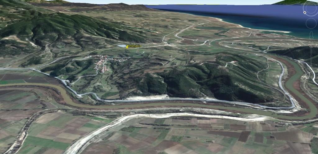 Le site d'Amphipolis dans Google Earth