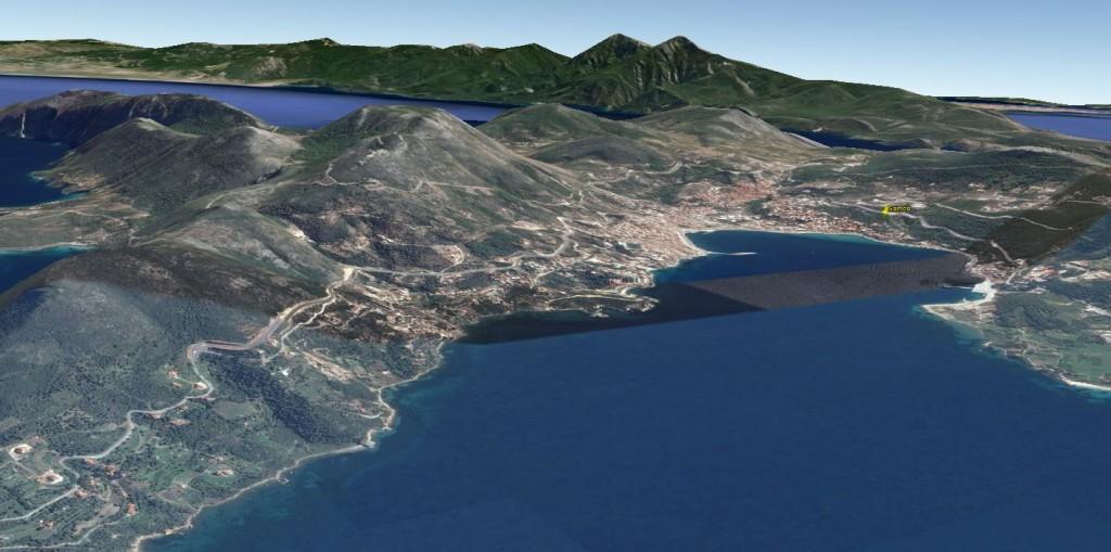 La baie de Vathy dans Google Earth